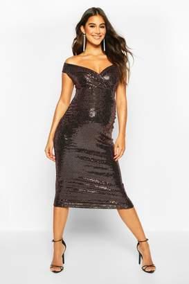 boohoo Off The Shoulder Sequin Midi Bodycon Dress