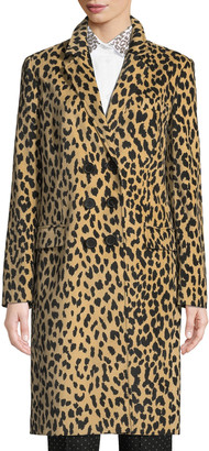 Piazza Sempione Double-Breasted Animal-Print Velveteen Topper Coat