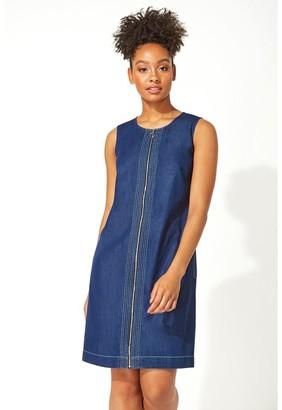 M&Co Roman Originals denim zip through shift dress