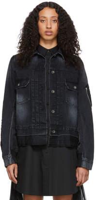 Sacai Black Denim Nylon Back Jacket