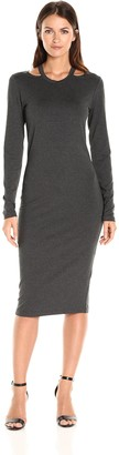 Nicole Miller Women's Riley Solid Jersey Long Sleeve Cut Out Dress