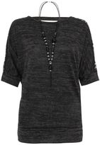 Quiz Charcoal Knit Contrast Light Knit Necklace Top
