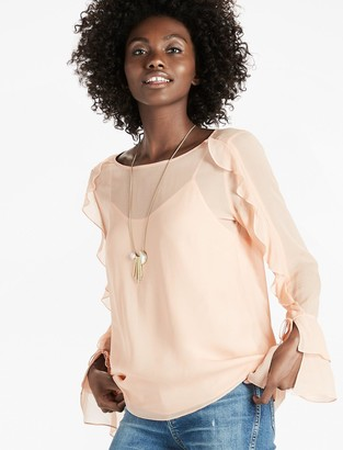 Lucky Brand Scoop Back Ruffle Top