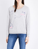 Sundry France to USA map-embroidered cotton-blend sweatshirt