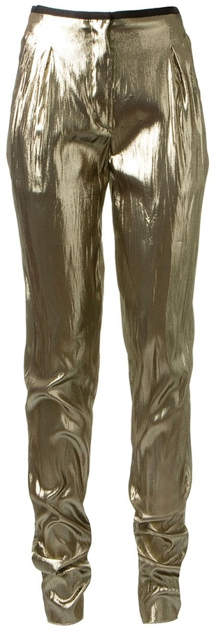 Lanvin straight leg lamé trousers