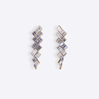 Balenciaga Evening Earrings in antique gold brass and rhinestones
