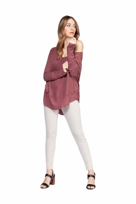 Dex Long Sleeve Wide Scoop Neck Top Ribbed Cuff And Hem