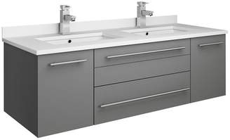 """Fresca Lucera Wall Hung Cabinet With Top & Double Undermount Sinks, Gray, 48"""""""
