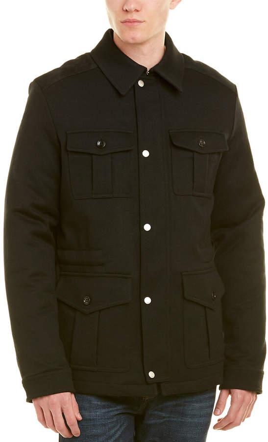Gucci Leather-Trim Wool-Blend Jacket