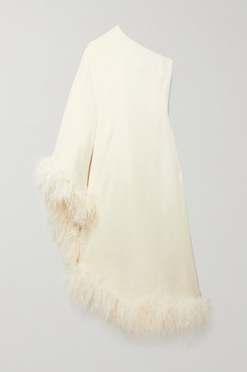 Taller Marmo Ubud One-shoulder Feather-trimmed Crepe Maxi Dress - Ivory