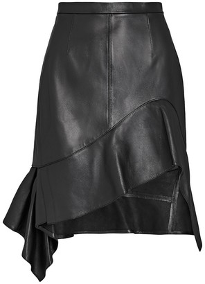 Alexander Wang Deconstructed Leather Ruffle Skirt