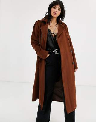 Object double breasted oversized wool coat-Brown