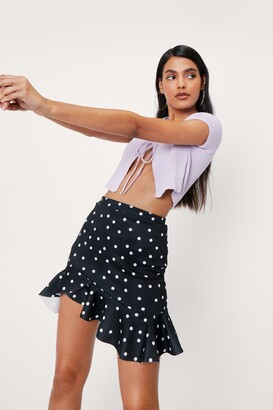 Nasty Gal Womens Dot's the Plan Ruffle Mini Skirt - Black - 6, Black