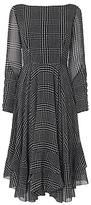 LK Bennett L.K.Bennett Manon Checked Ruffle Dress, Black/White