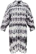 Issey Miyake Itajime-dyed V-neck Crepe Tunic Dress - Womens - Black White