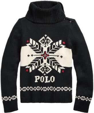Ralph Lauren Girls Snowflake Knitted Jumper - Black
