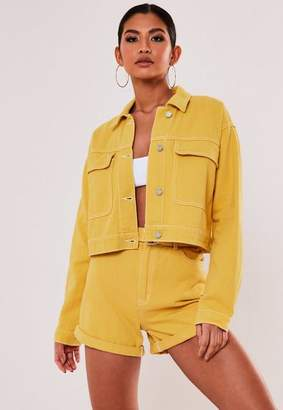 Missguided Mustard Co Ord Cropped Utility Denim Jacket