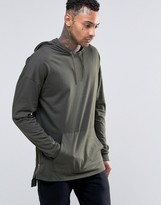 Asos Oversized Long Sleeve T-Shirt With Hood And Zips In Khaki