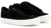 Salvatore Ferragamo Foxy Fur Fur-trimmed Suede Slip-on Sneakers