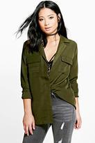 Boohoo Petite Tiffany Utility Style Shirt