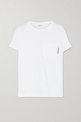 Brunello Cucinelli Bead-embellished Stretch-cotton Jersey T-shirt - White