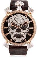 GaGa MILANO Bionic Skull Gold Watch With Diamonds