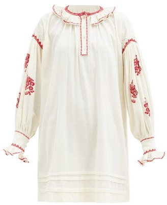 Etoile Isabel Marant Ruby Embroidered Cotton-voile Mini Dress - Ivory