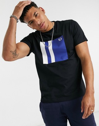Fred Perry tipped graphic t-shirt in black