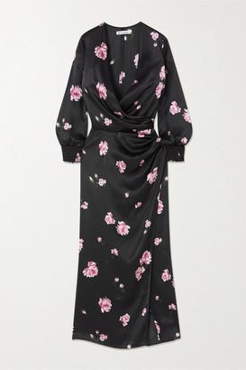 Reformation + Net Sustain Chantelle Wrap-effect Floral-print Silk-satin Midi Dress - Black