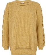 River Island Womens Yellow ribbed knit cut out sweater