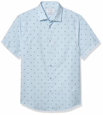 Azaro Uomo Men's Short Sleeve Button Down Casual Dress Shirt Elegant Patterns