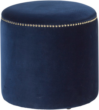 OKA Costellini Velvet Ottoman - Perfect Navy