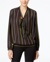 NY Collection Striped Tie-Neck Faux-Wrap Top