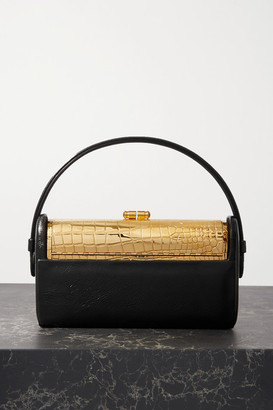 BIENEN-DAVIS Regine Textured Patent-leather And Gold-dipped Tote - Black
