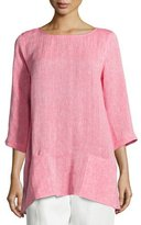 Caroline Rose Chambray Pocket-Front Tunic, Petite