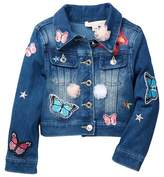 Baby Sara Patch & Embroidery Detail Denim Jacket (Toddler & Little Girls)