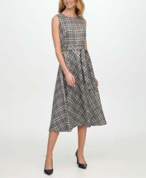 Calvin Klein Metallic Plaid Belted Dress