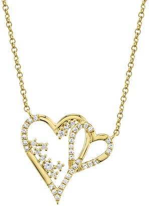 Ron Hami 14K Yellow Gold Diamond Interlocking Heart Pendant Necklace - 0.17 ctw