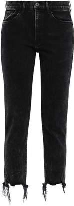 3x1 W3 Cropped Frayed High-rise Slim-leg Jeans