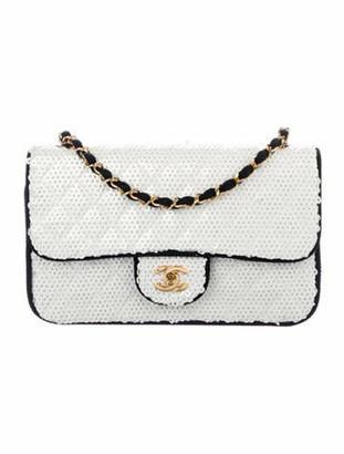 Chanel Vintage Medium Sequin Flap Bag White