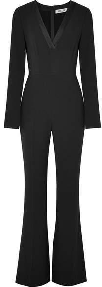 Diane von Furstenberg Satin-trimmed Crepe Jumpsuit - Black