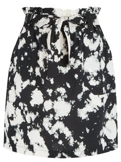 Dorothy Perkins Womens Black Tie Dye Print Waist Mini Skirt, Black
