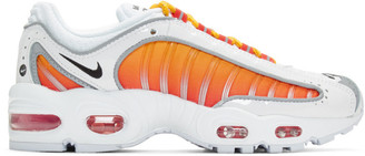 Nike White and Orange Air Max Tailwind IV NRG Sneakers