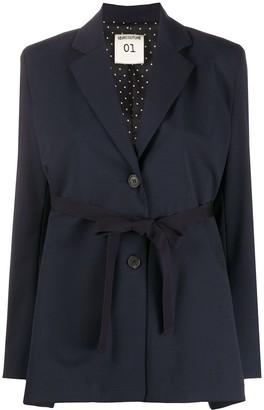 Semi-Couture Tie-Fastening Single-Breasted Blazer