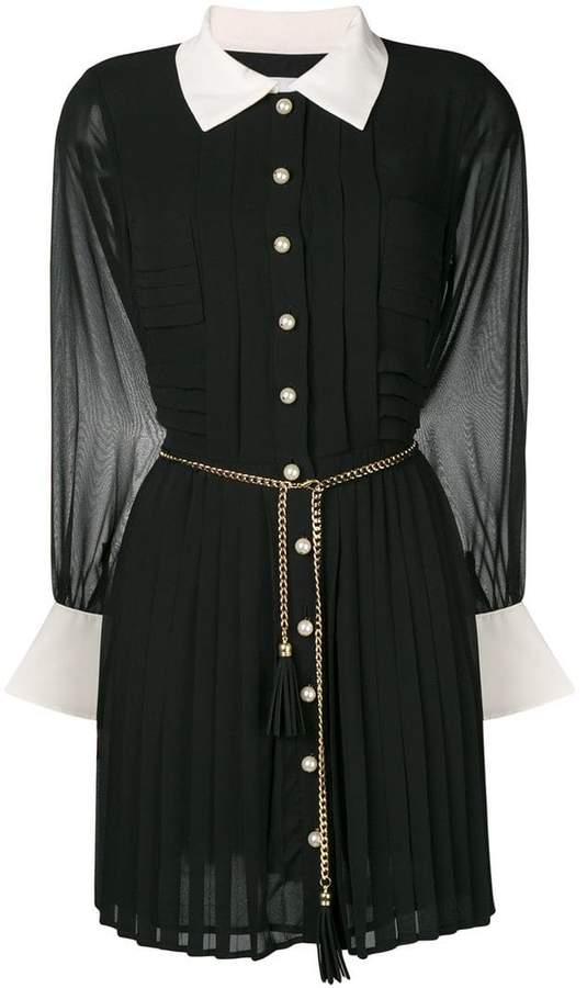 Edward Achour Paris chain belted shirt dress