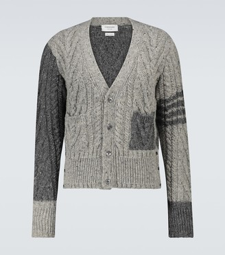Thom Browne 4-Bar cable knit cardigan