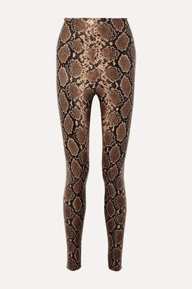 Commando Snake-effect Faux Stretch-leather Leggings