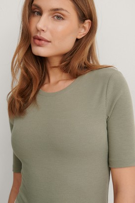 NA-KD Recycled Round Neck Ribbed Top