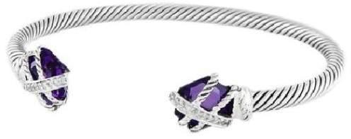 David Yurman Sterling Silver Amethyst and Diamonds Cable Wrap Bracelet