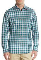 Saks Fifth Avenue Regular-Fit Plaid Check Cotton Sportshirt